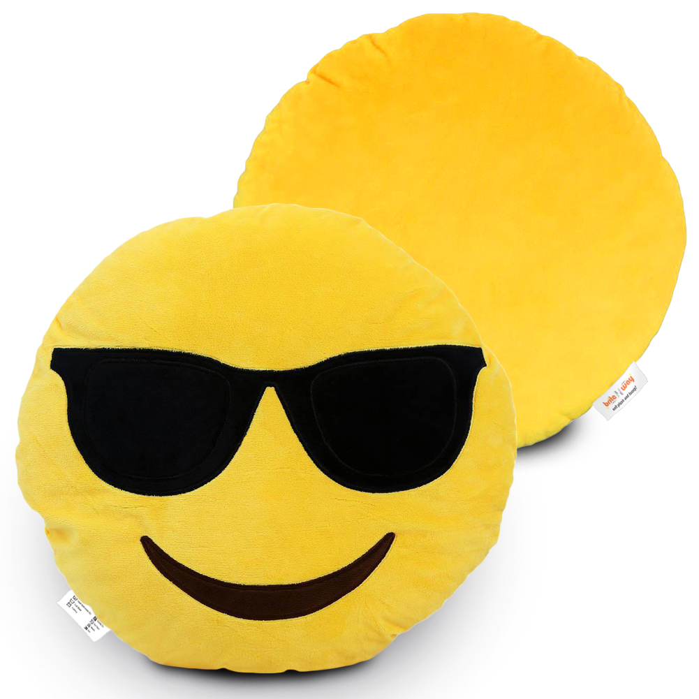 Large 12  Emoji Cute Pillow - Fully Stuffed Soft Plush  amp  Funny