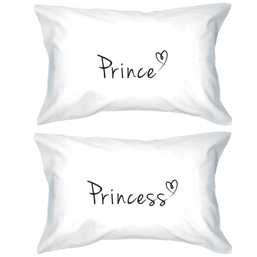Prince and Princess Pillow Covers Matching Couple Pillowcases