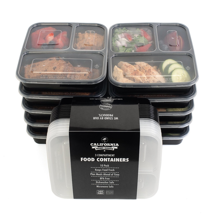 10-Pack California Home Goods 3 Compartment Reusable Meal Prep Food Co