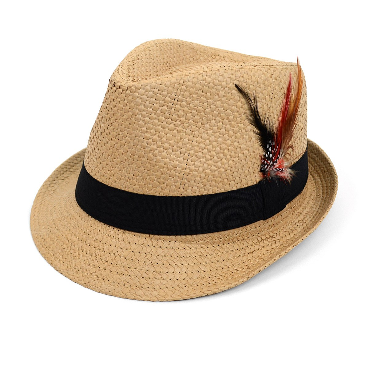 Spring Summer Woven Fedora Hat with Feather
