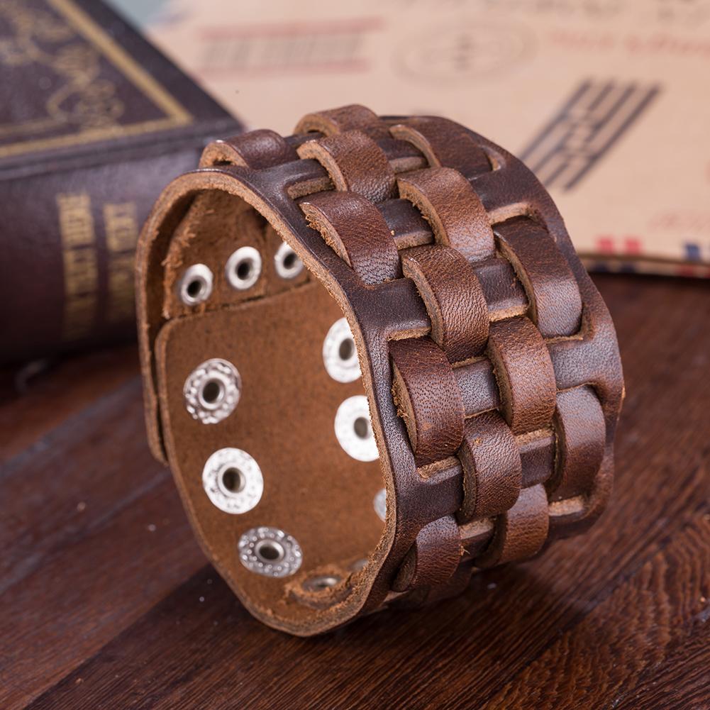 Brown Leather Interwoven Men s Clasp Cuff Bracelet