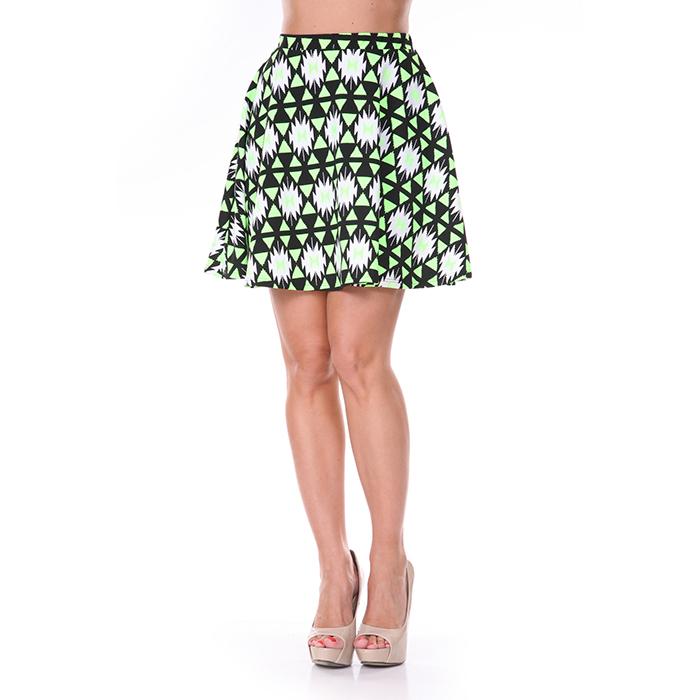 Neon Green  amp  Black Diamond Print Skater Skirt