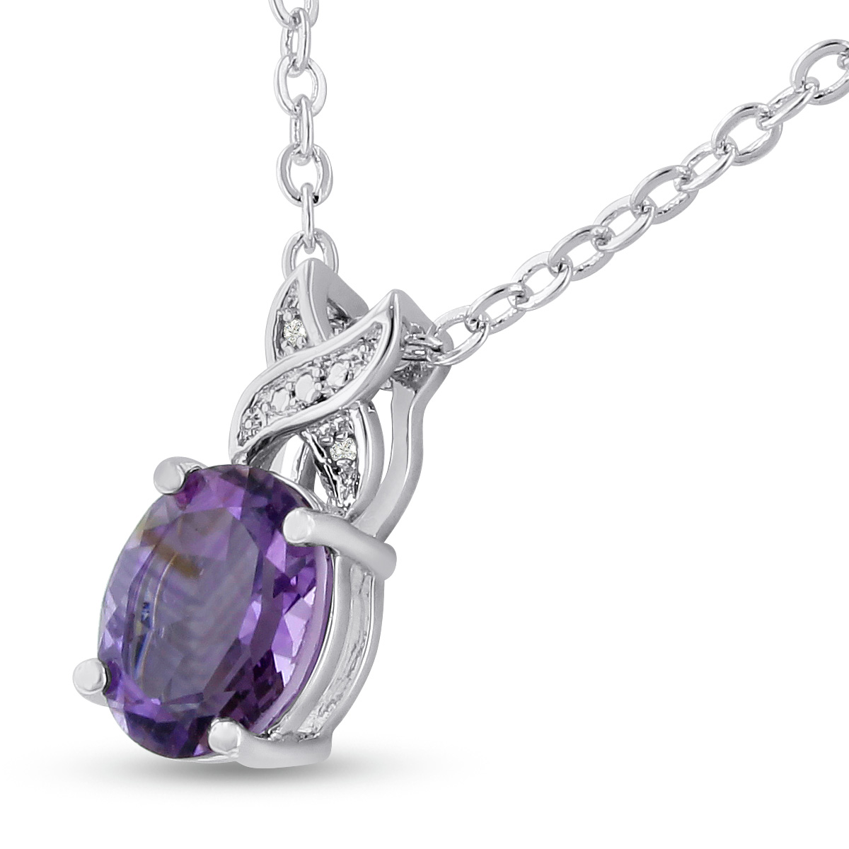 Platinum Plated 3 1 2 Carat Oval Shape Amethyst and Diamond Necklace,