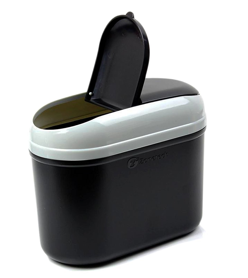 Zone Tech Traveling Car Garbage Can Portable Sturdy Black Vehicle Tras