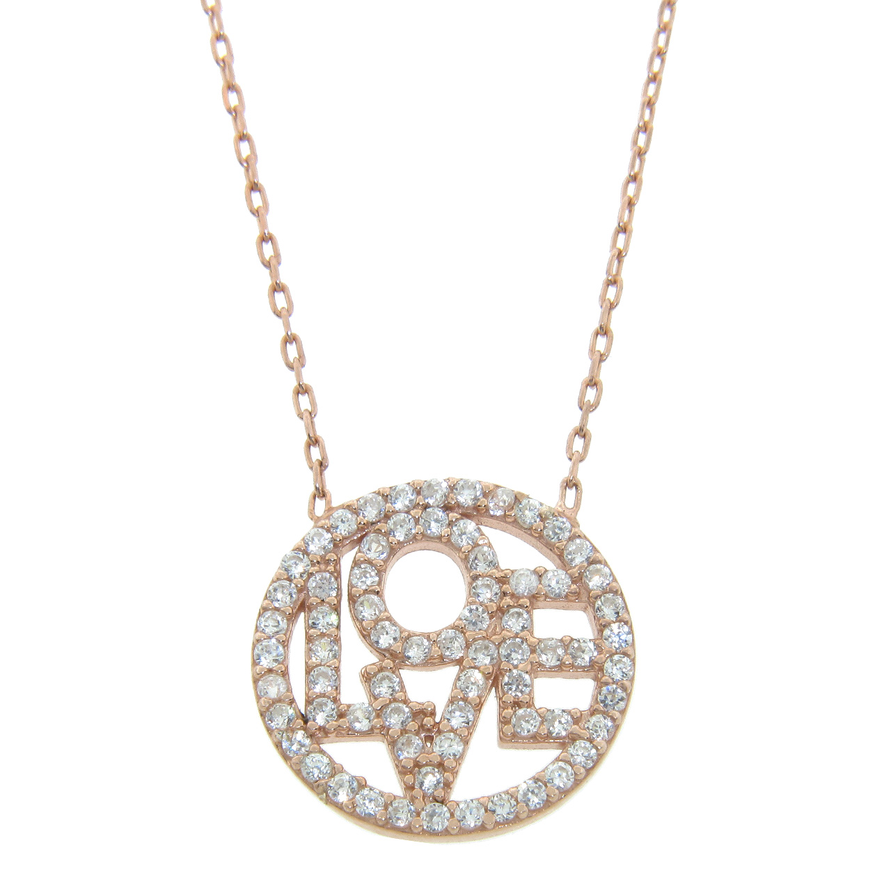 Rose Gold Plated Sterling Silver Love Necklace