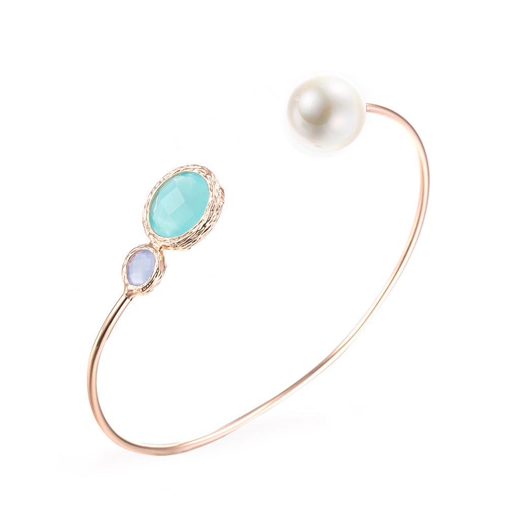 Rose Gold Plated Turquoise  amp  Pearl Open Ended Bangle