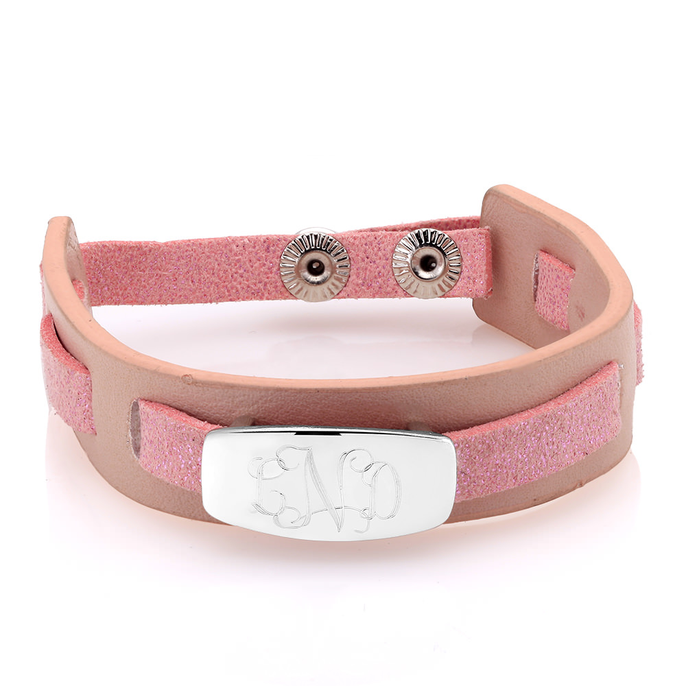 Personalized Pink Woven Leather Bracelet with Free Gift!