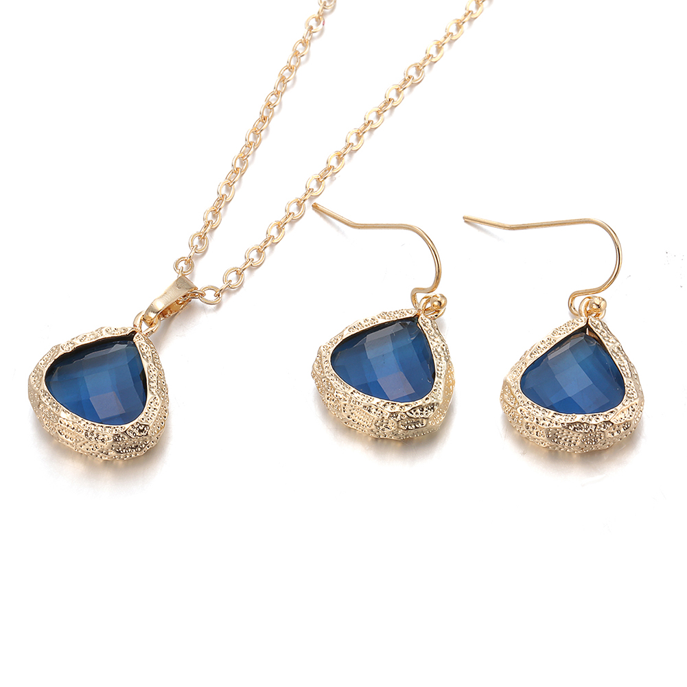 Gold Plated Modern Sapphire Necklace  amp  Earrings Set