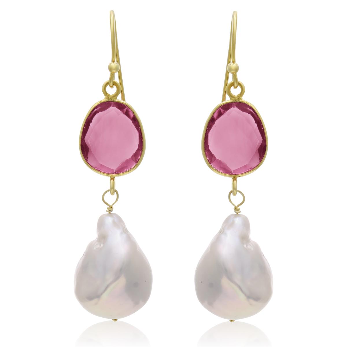 14k Yellow Gold 64ct Raspberry Quartz and Baroque Pearl Dangle Earring