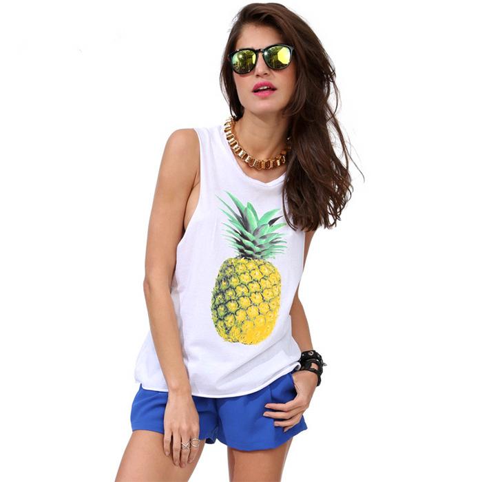 Women s Sleeveless Pineapple Print Chiffon Tank Top