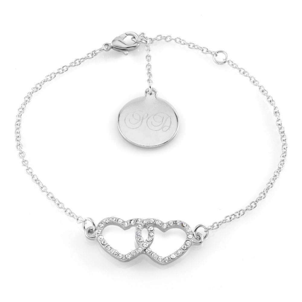 Personalized Interlocking Hearts Bracelet - 2 Colors