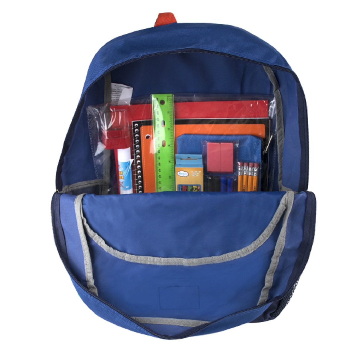 Preassembled 17 Inch Bungee Backpack  amp  12 Piece School Supply Kit