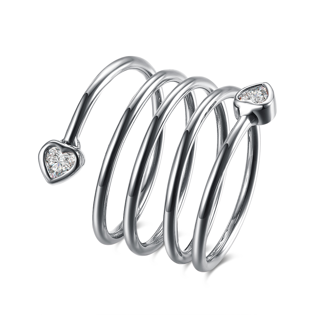 White Gold Plated Cubic Zirconia Heart Swirl Ring