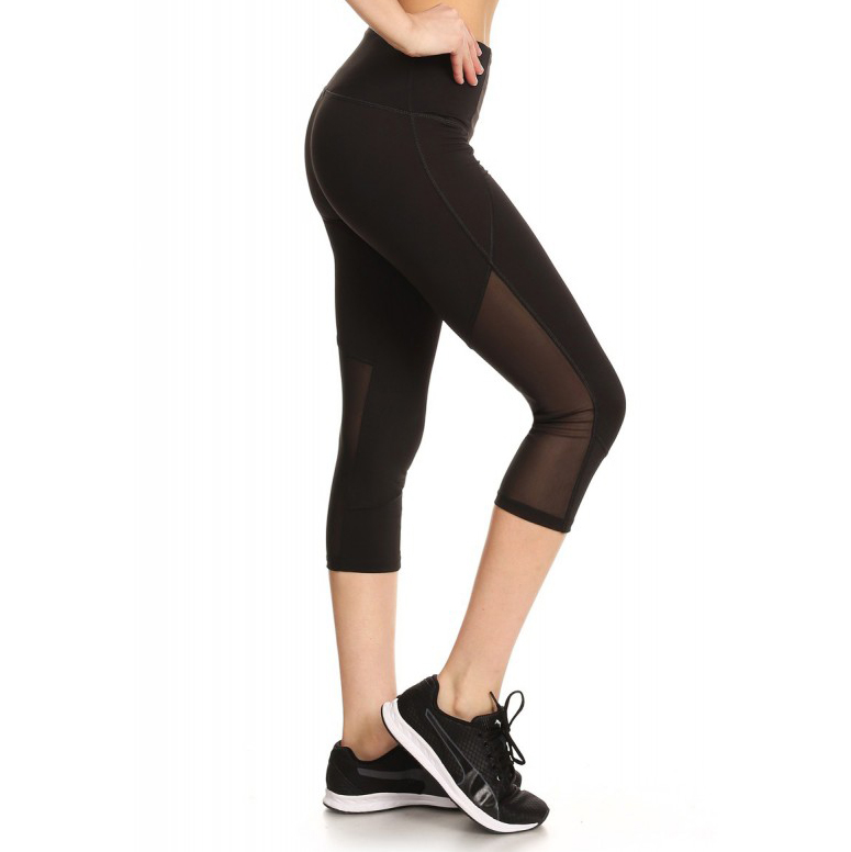 Capri Leggings with Side Mesh Panels 8457578