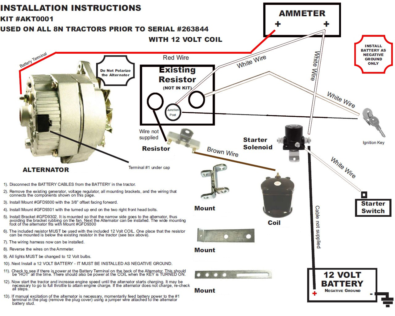New Alternator Conversion Kit Fits Early Ford 2n Tractors