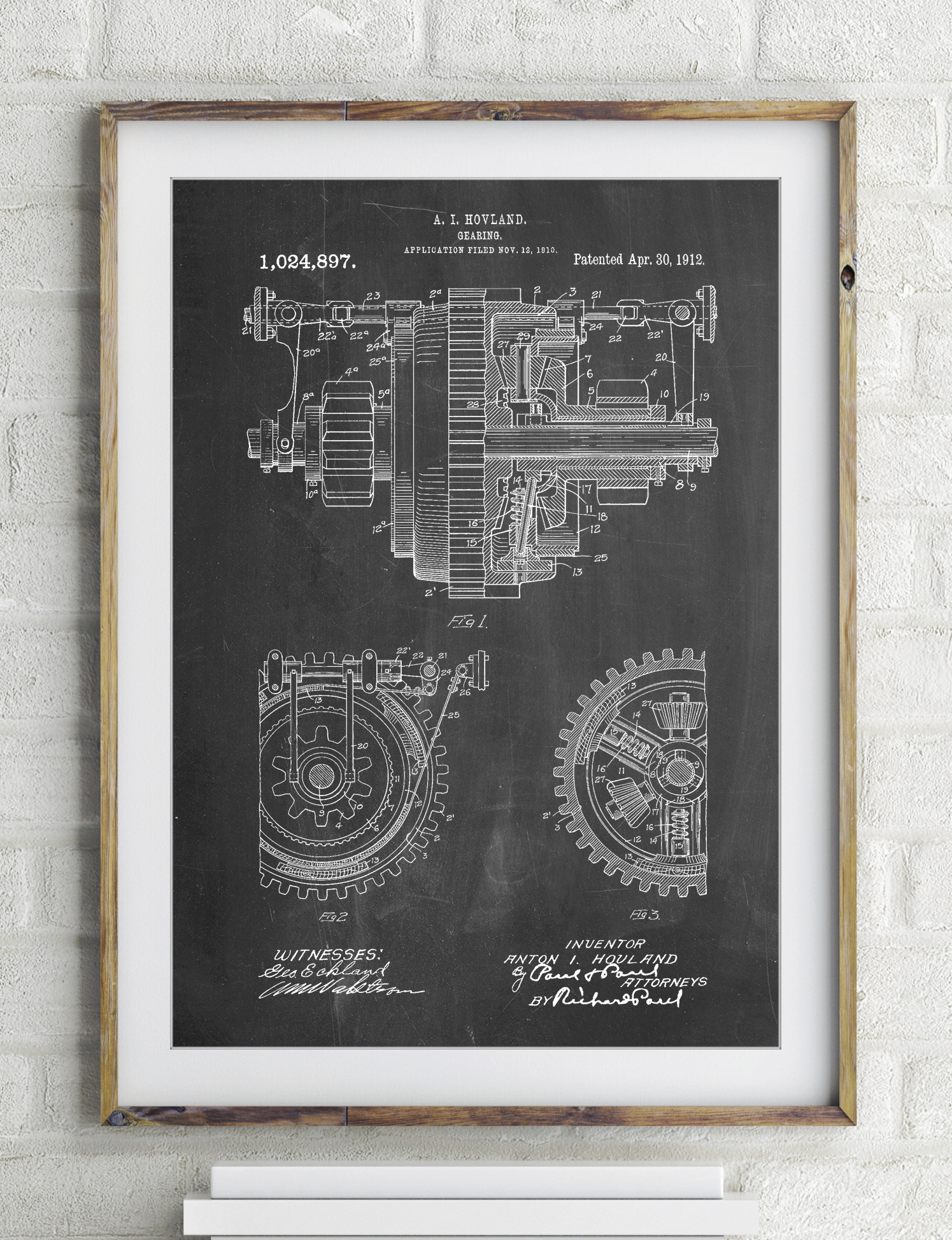 Mechanical Gearing 1912 Patent Poster