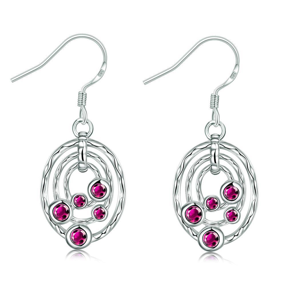 Ruby Red Circular Pendant Drop Earrings