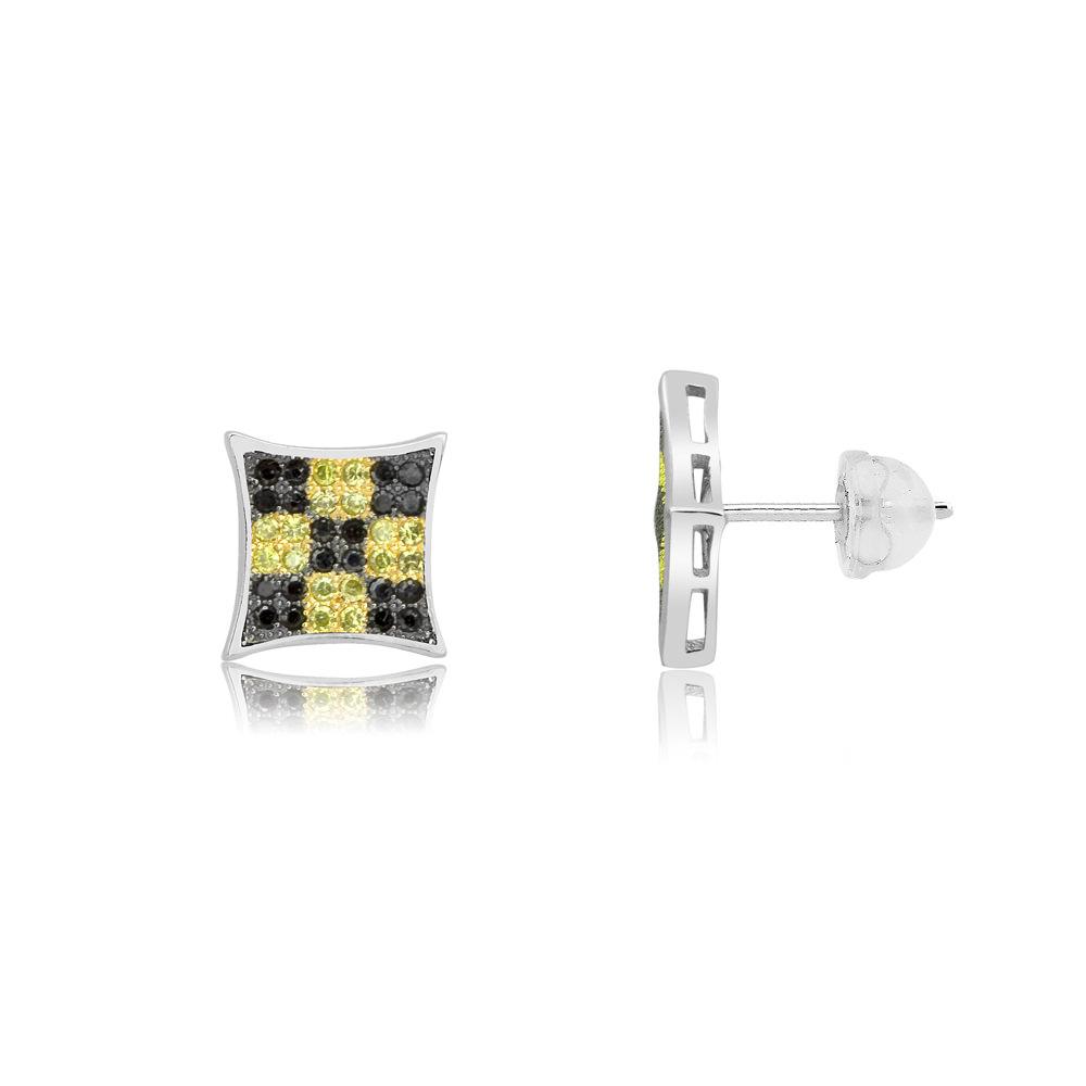 Sterling Silver Checkered Black  amp  Yellow Micro-Pave Diamond Stud Earri