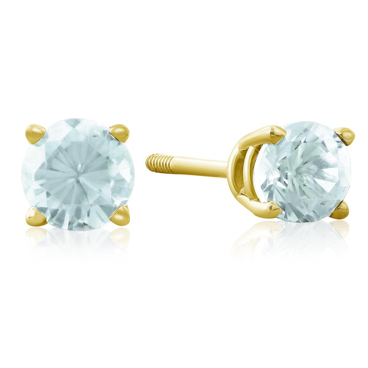 1 2 Carat Blue Topaz Stud Earrings in 14k Yellow Gold