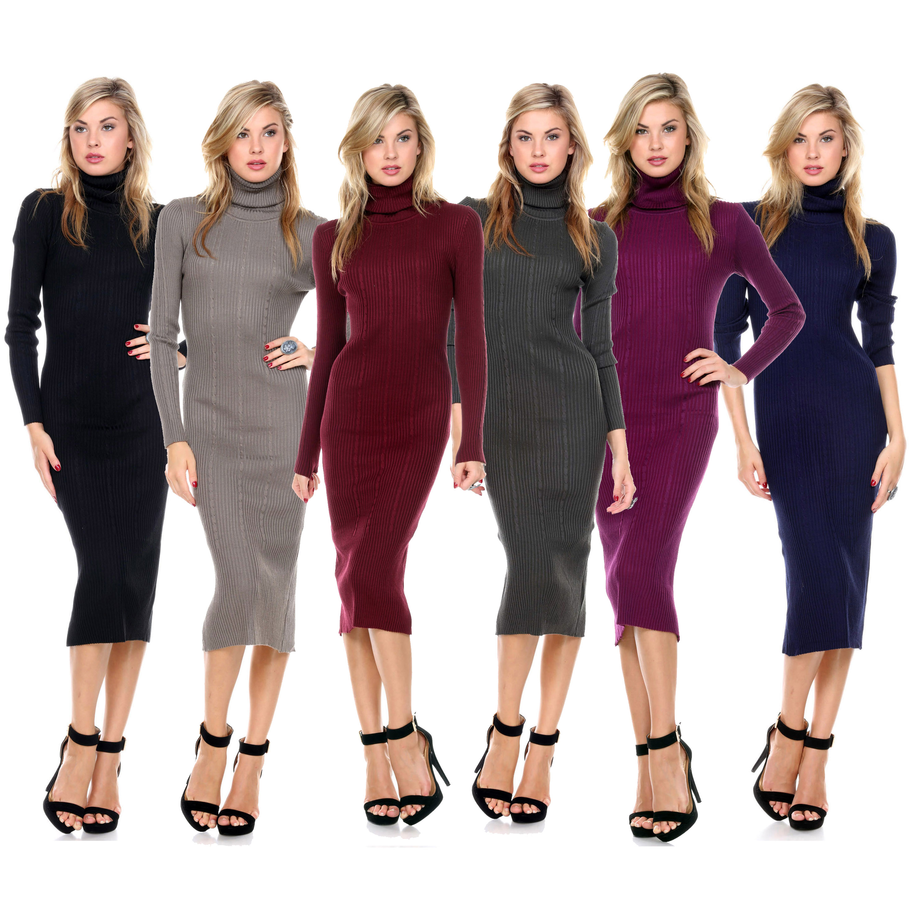 Women s Stretchy Tunic Turtleneck Sweater Dress ae2c897966d9
