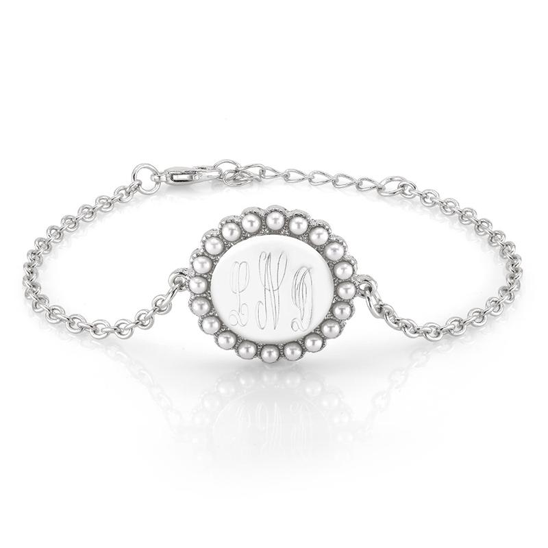 Faux Pearl Personalized Monogram Bracelet