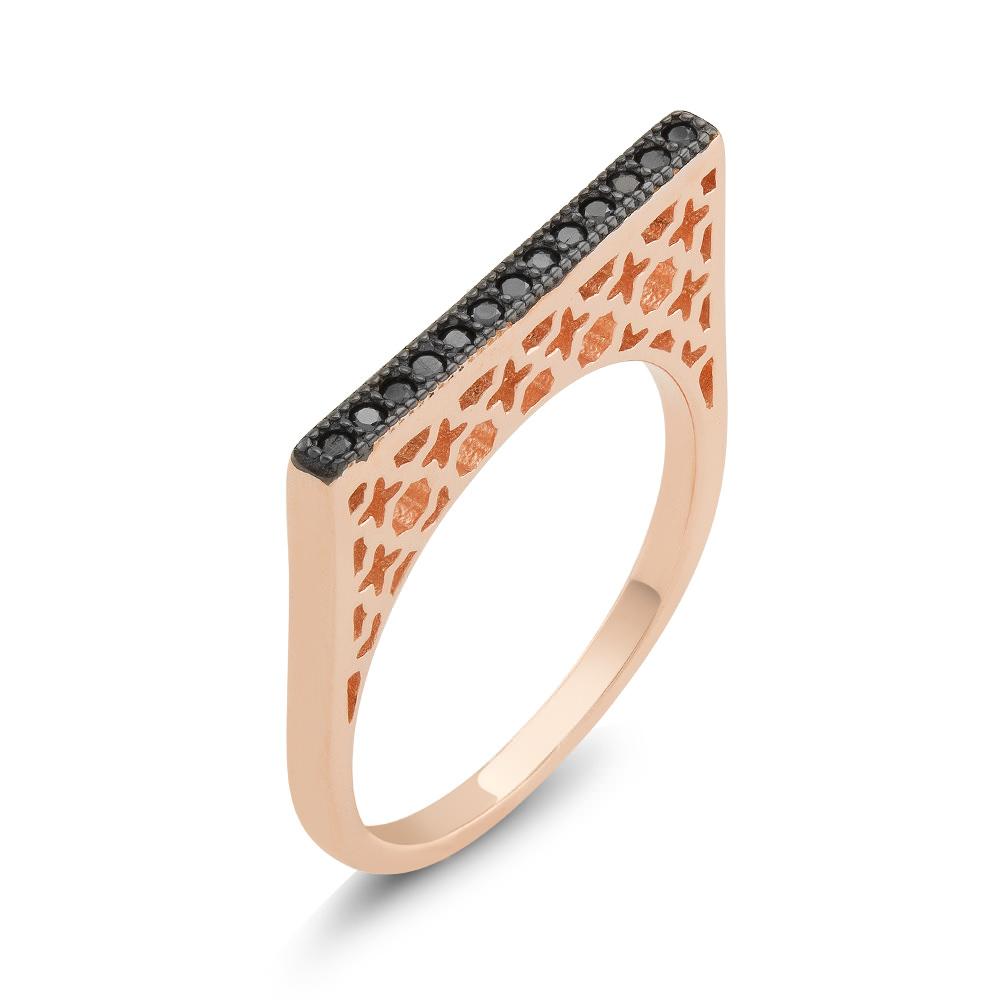 Rose Tone Sterling Silver Black CZ Bar Ring