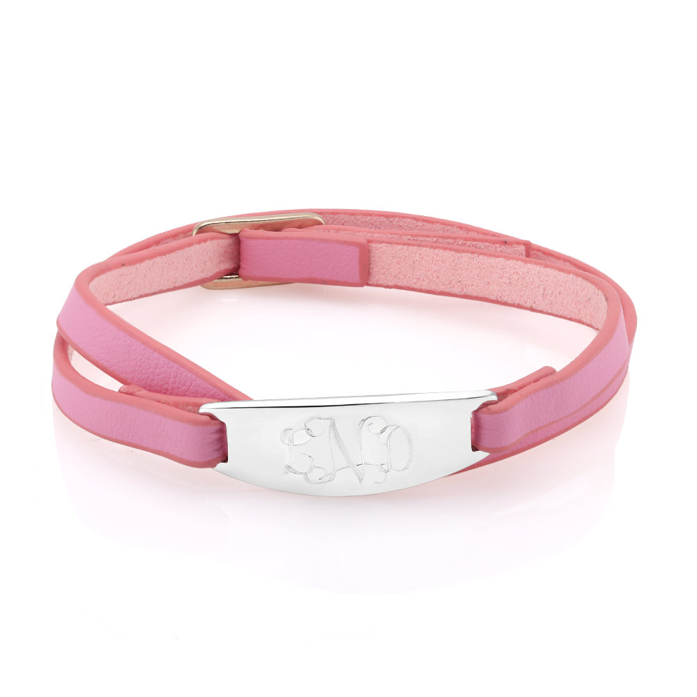 Personalized Pink Leather Bracelet with Free Gift!
