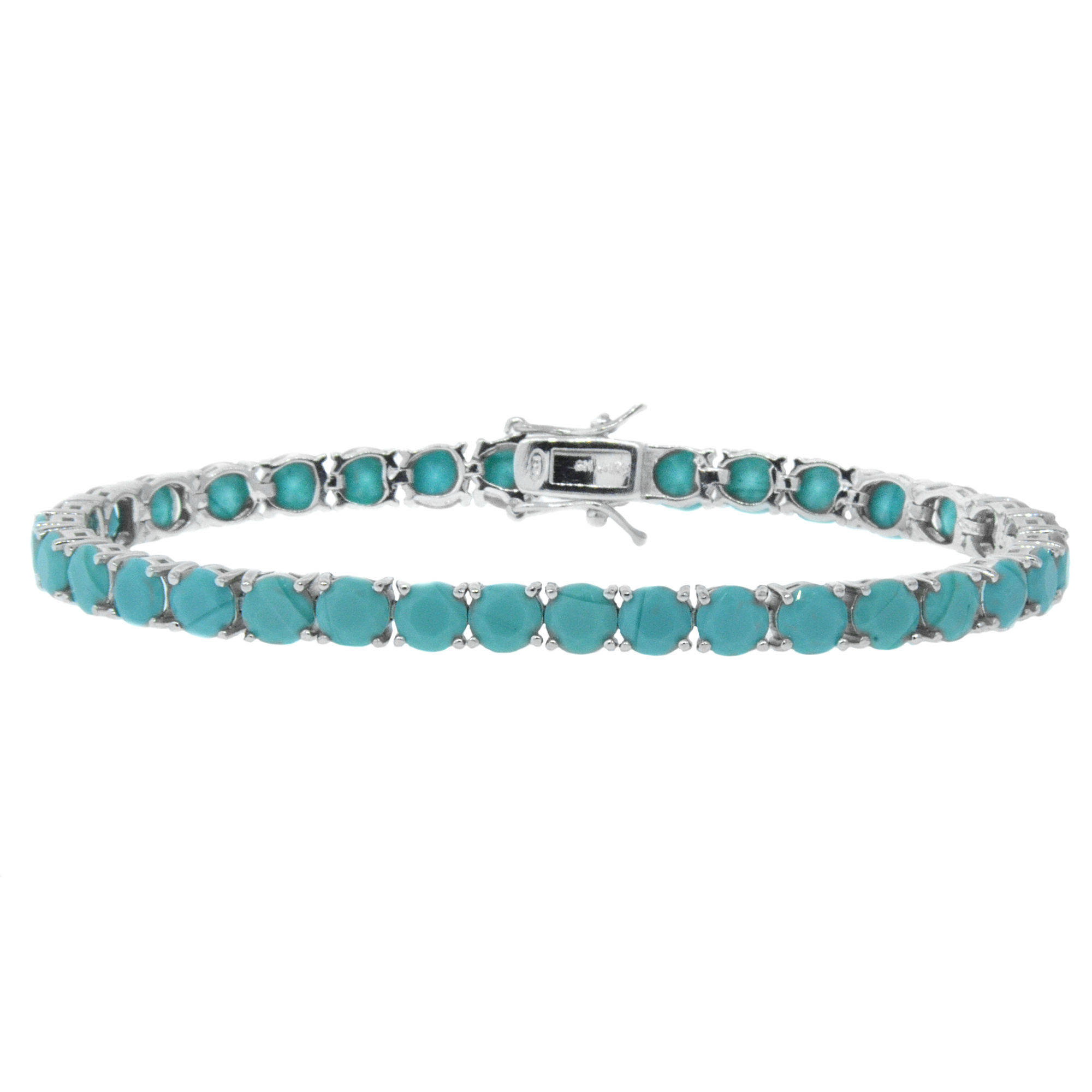 White Gold Plated Turquoise Tennis Bracelet