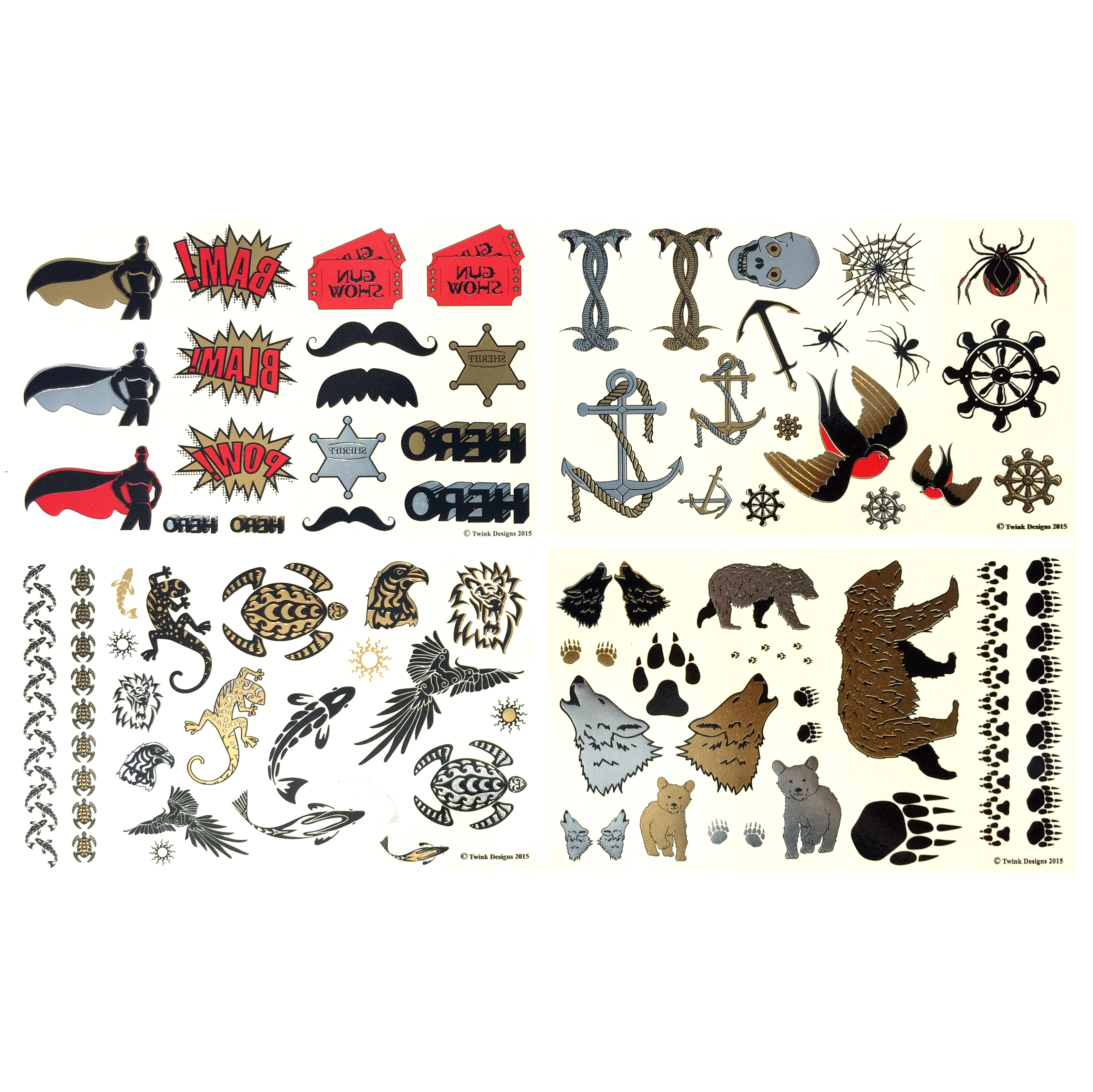 8 Pages of Metallic Temporary Tattoos for Kids