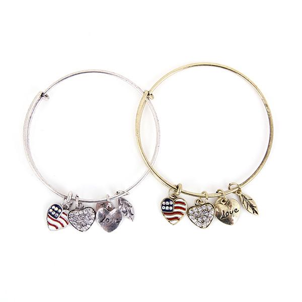 Patriot Love Charm Bangle Bracelet