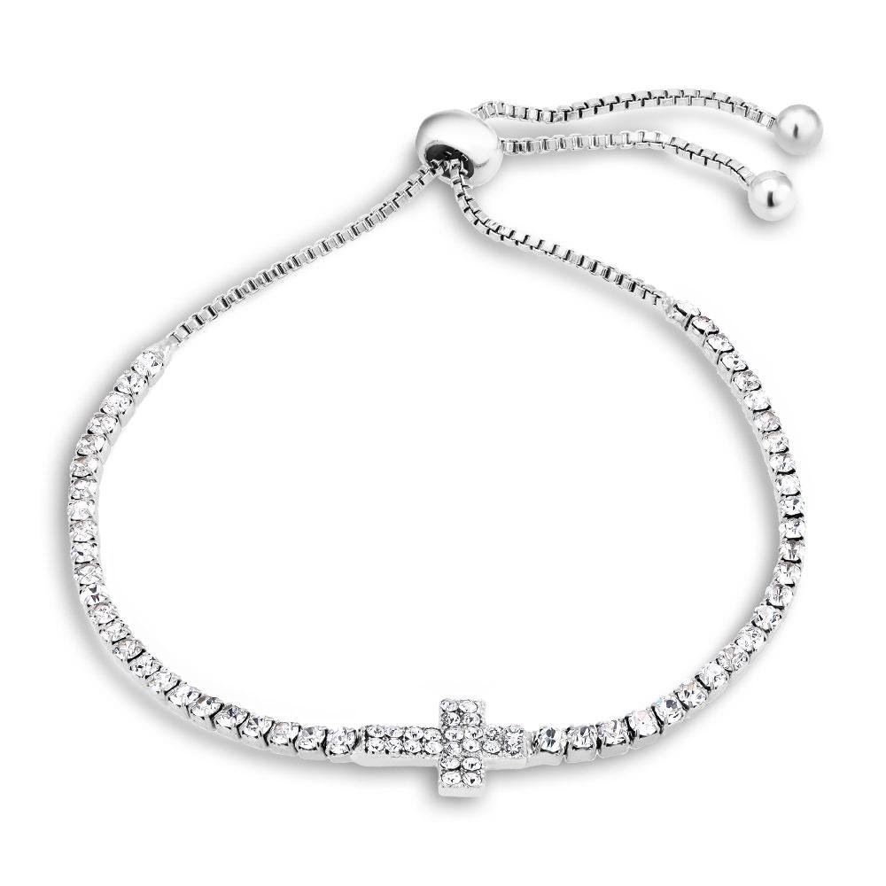 Cubic Zirconia Horizontal Cross Charm Bracelet