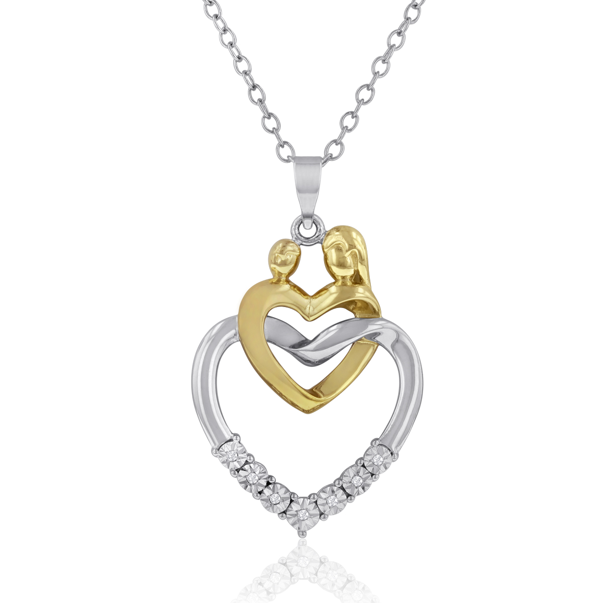Mother and Child Two-Tone Diamond Accent Heart Necklace