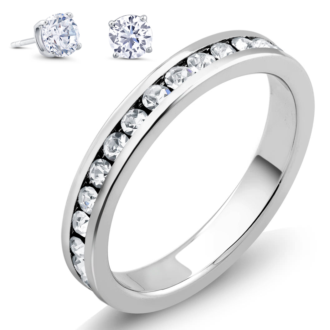18k Plated Band  amp  2cttw Simulated Diamond Studs