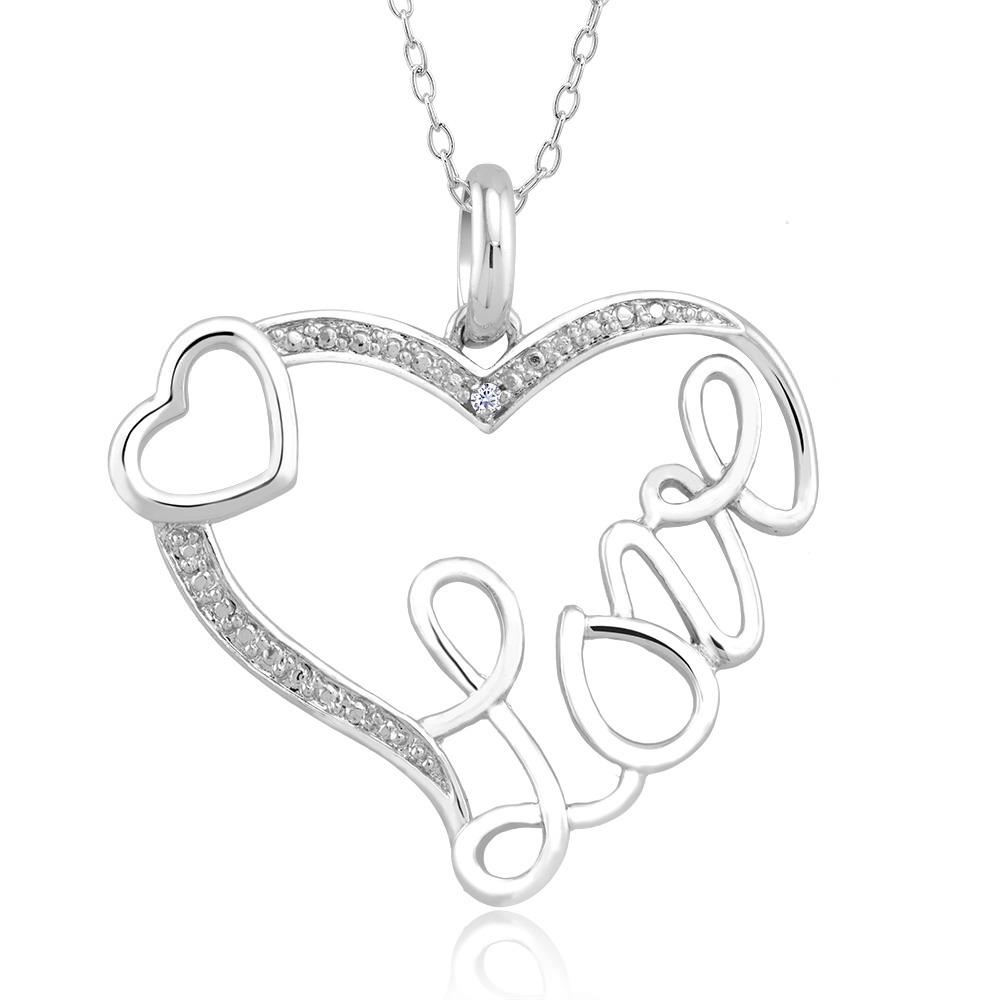 .10 Ct Diamond Accent Necklace - Outside Heart