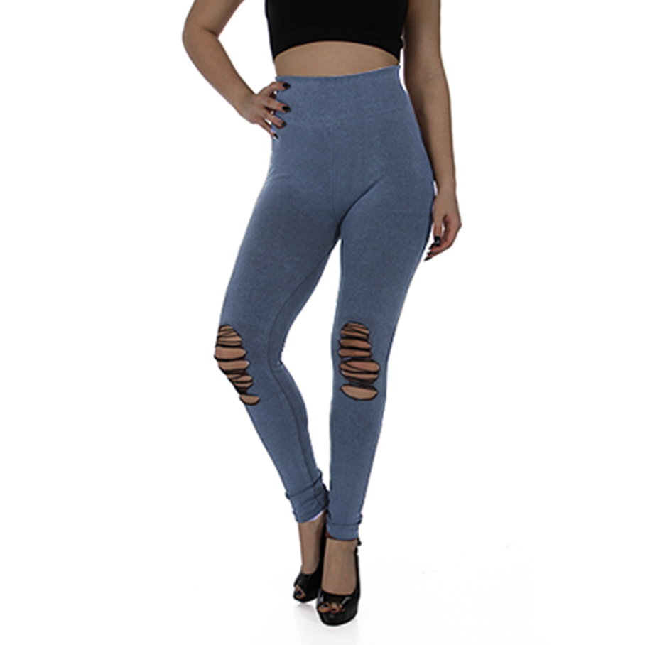 Ladies High Waist Distressed Knee Legging 6330749
