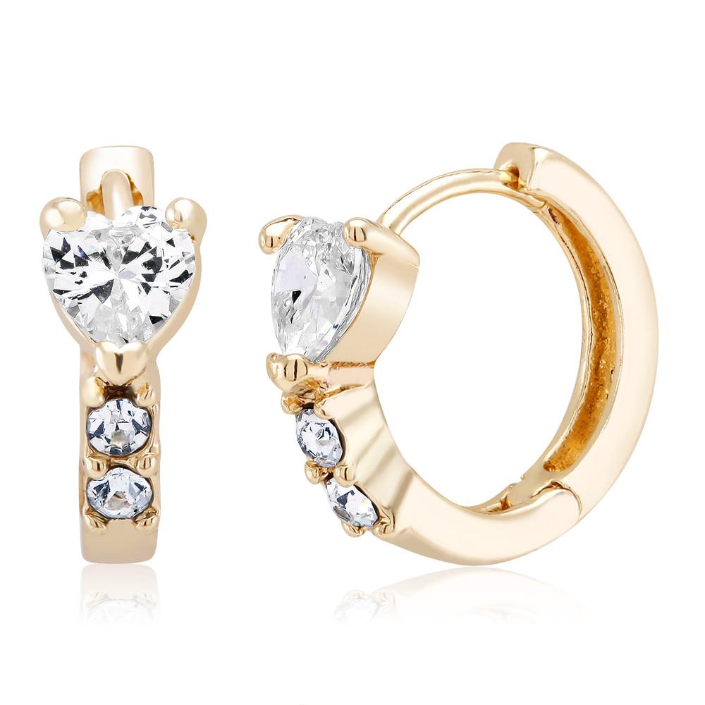 Gold Tone Heart Huggie Earrings