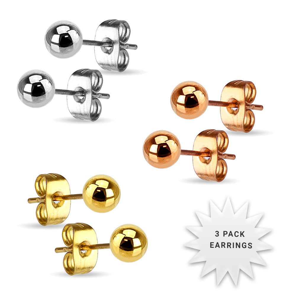 3 Pack Stainless Steel Ball Earrings