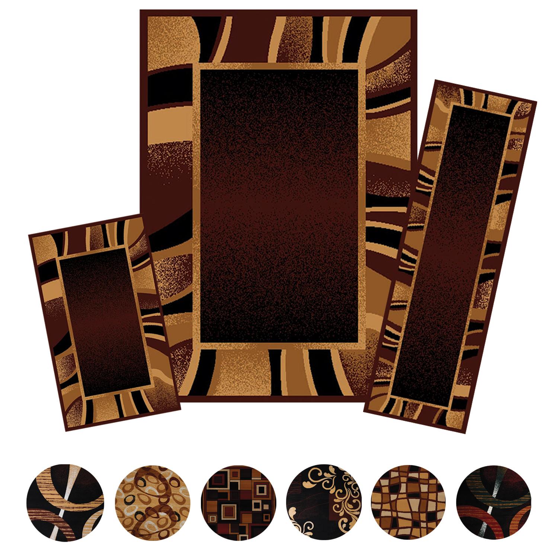 3 Piece Modern Contemporary Geometric Area Rug Runner