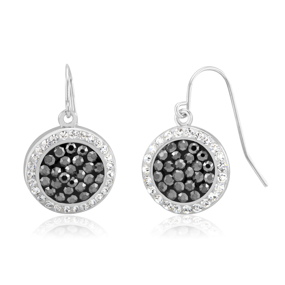 Black  amp  White Crystal Circle Dangle Earrings
