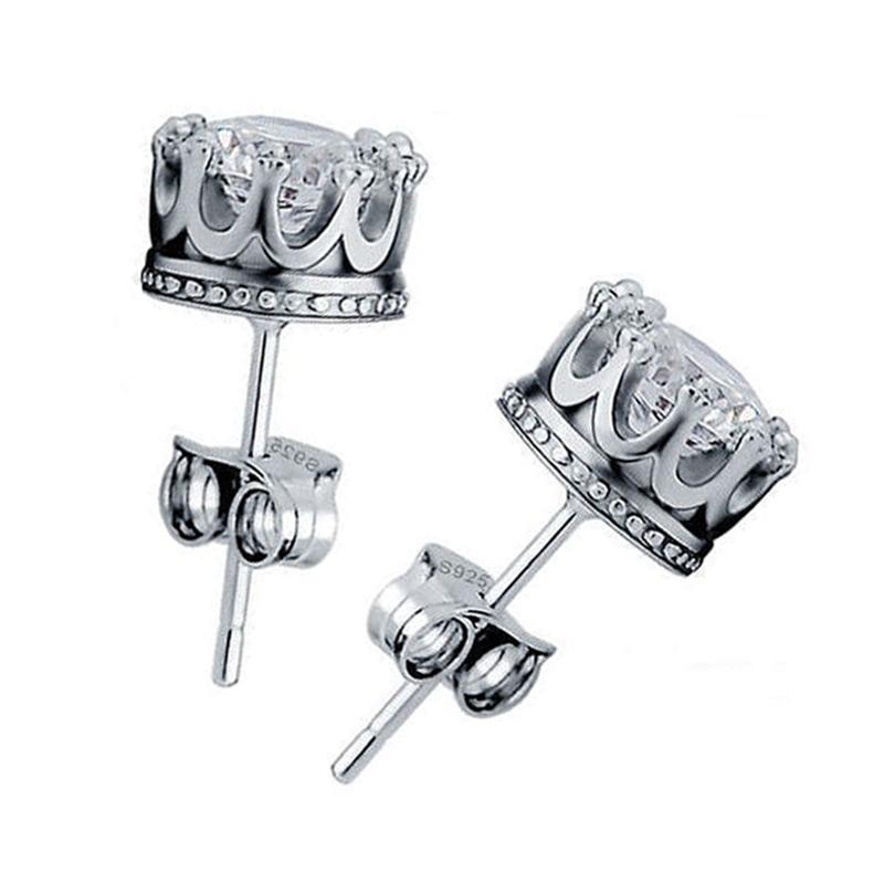 Sterling Silver Royal Crown Stud Earrings 54797