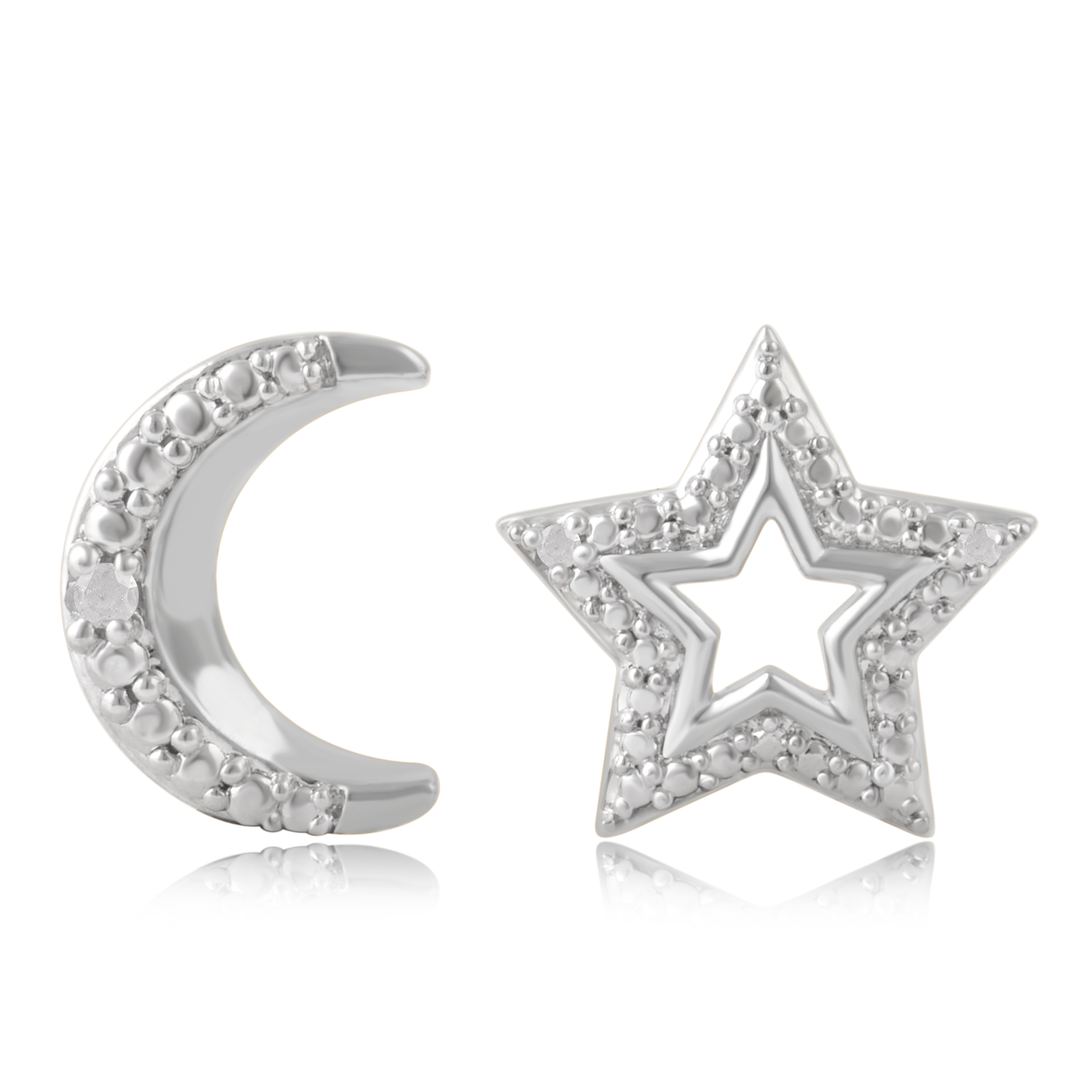 Diamond Accent Moon and Star Earrings - 3 Colors
