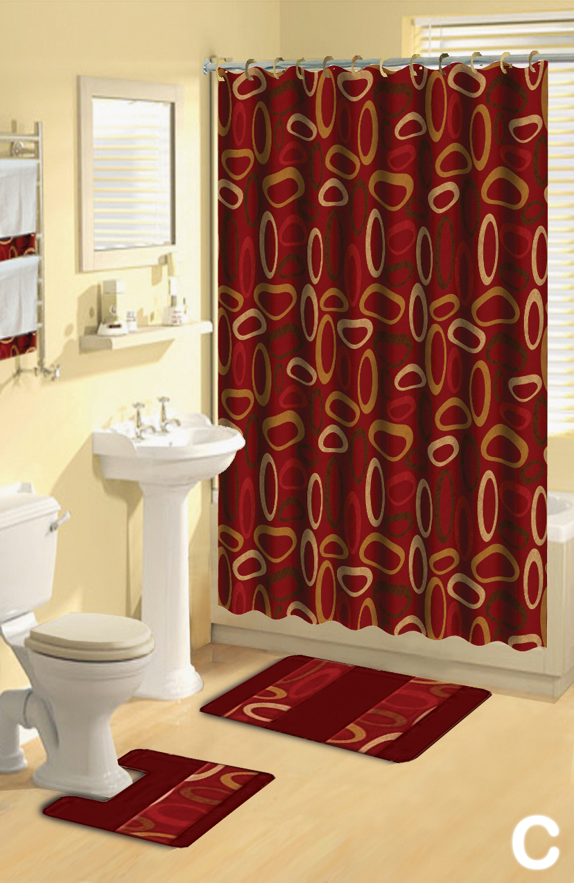 Shower Curtains 17 pcs Set Modern Bath Mat Contour Rug Hooks Hand ...