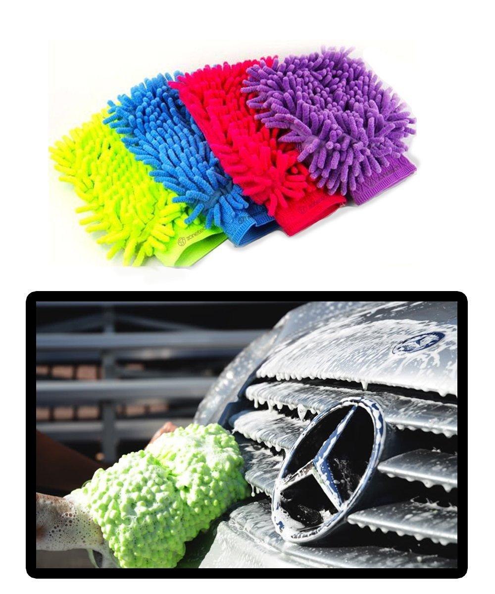 Zone Tech 2x Micro Fiber Car House Wash Cleaning Glove Mitt