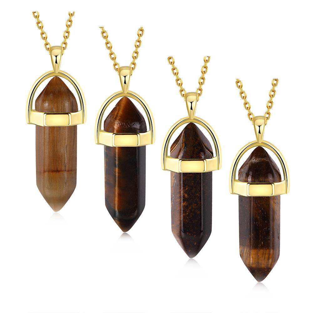 Imperial Topaz Tiger Eye Stone Necklace Bellechic