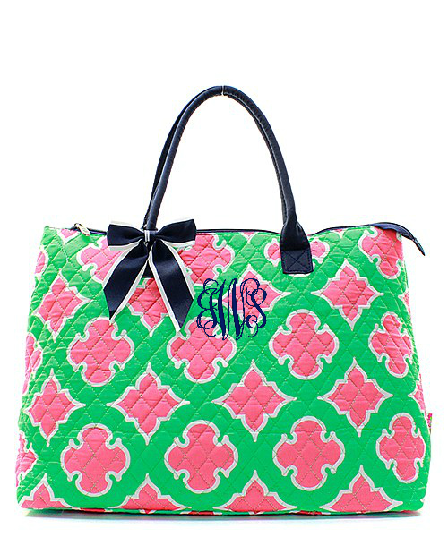 Personalized Large Quilted Tote Bag Bellechic