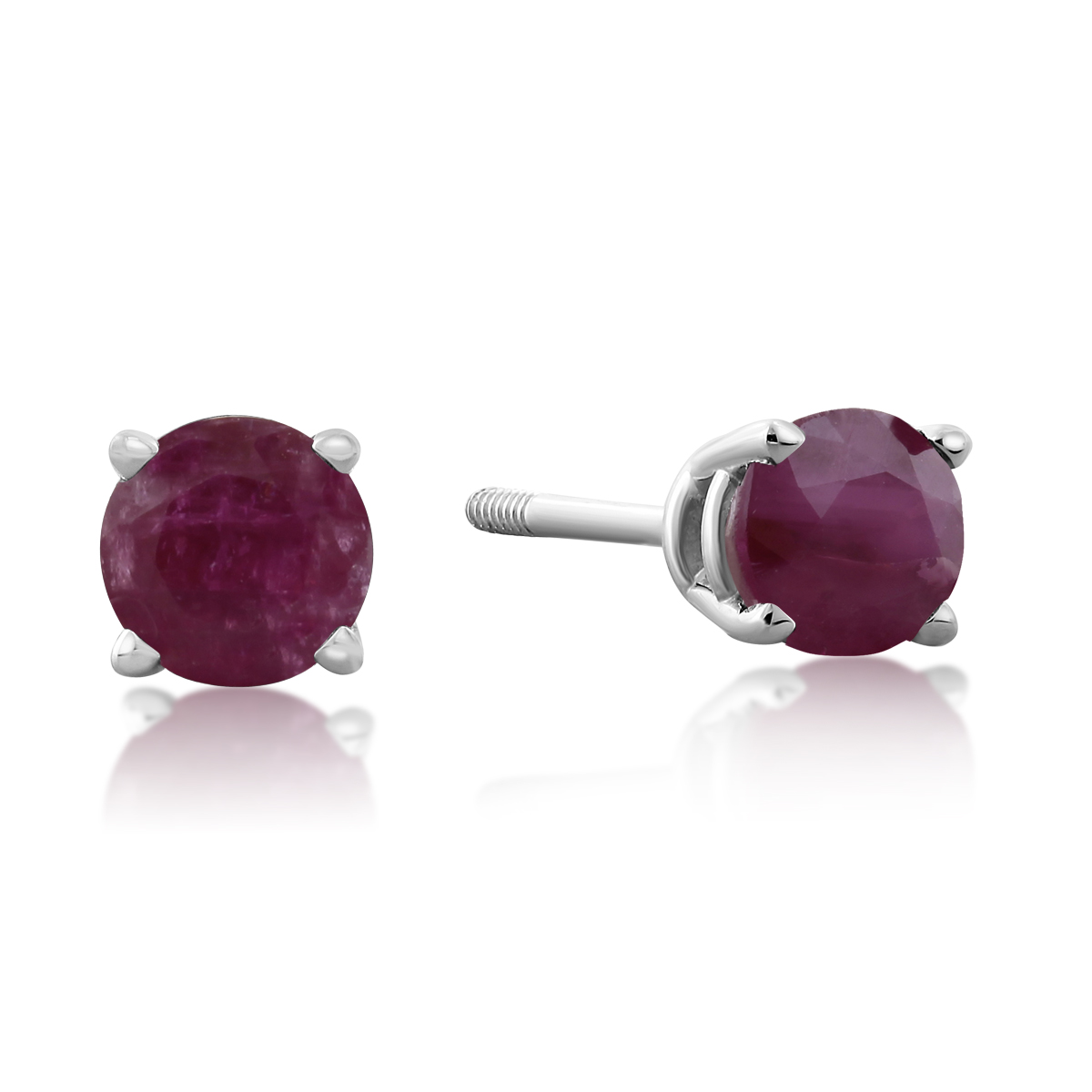 Garnet Stud Earrings in 14K Gold