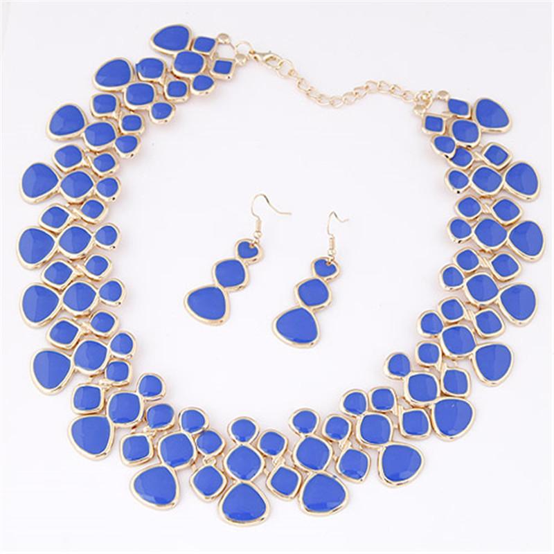 Geometric Havens Fantasy Enameled Dreamy Blue Necklace Set