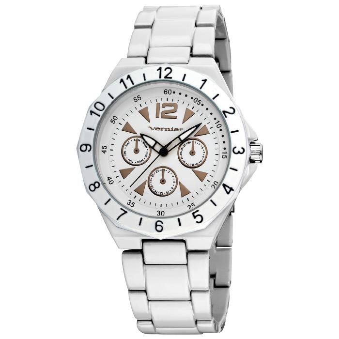 Vernier Women s Quartz Faux-Chrono White Bracelet Watch