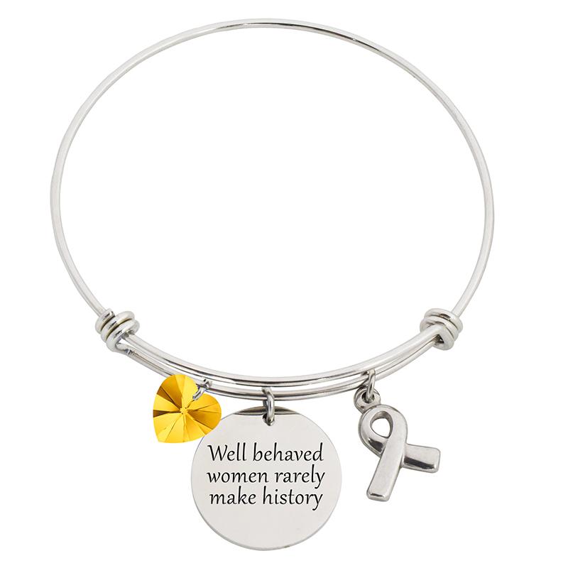 Well Behaved Women Steel Bangle Bracelet With Swarovski Charms