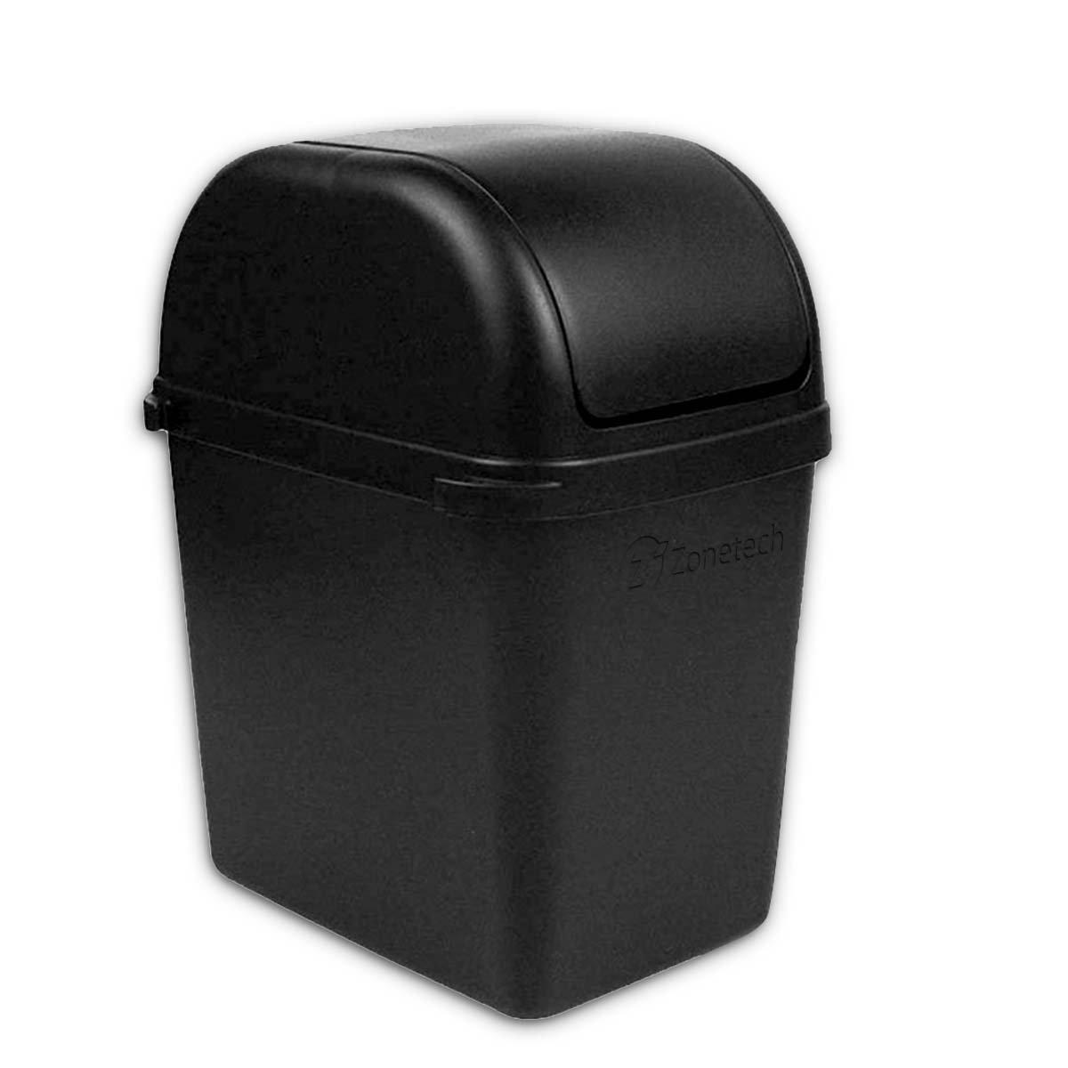 Zone Tech Portable Small Car Garbage Trash Litter Wastebasket Can Latc